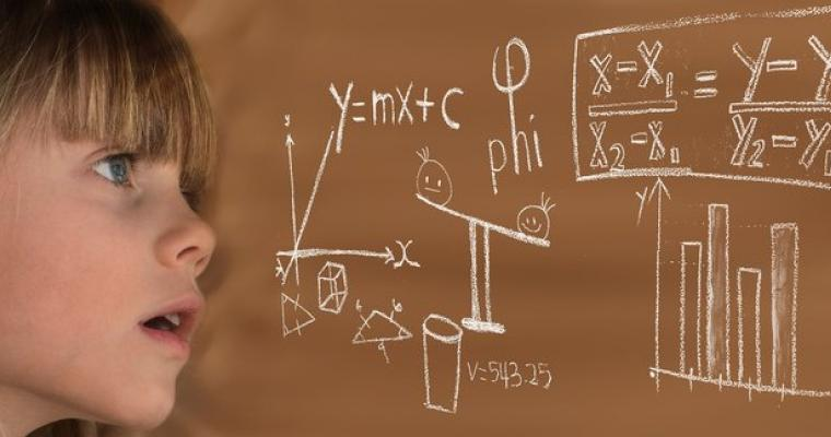 Child looking at Math Equations