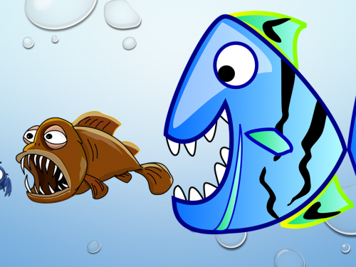 Mergers and Acquisitions illustrated by a small fish being eaten by a larger fish.