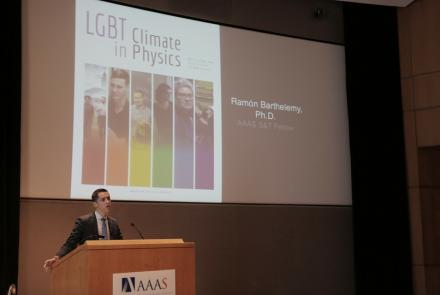 Ramon Barthelemy describes the experiences faced by LGBT physicists for the AAAS Colloquium Series on 28 June. | Carla Schaffer/AAAS